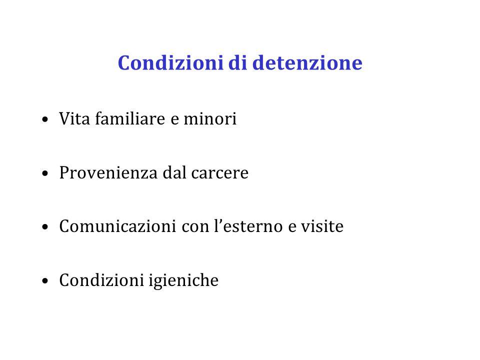 Condizioni di detenzione Vita familiare e minori Provenienza dal carcere Comunicazioni con l'esterno e visite Condizioni igieniche