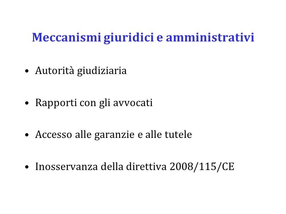 Meccanismi giuridici e amministrativi Autorità giudiziaria Rapporti con gli avvocati Accesso alle garanzie e alle tutele Inosservanza della direttiva 2008/115/CE