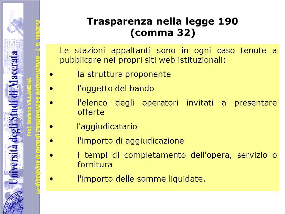 Università degli Studi di Perugia La disciplina in tema di trasparenza e anticorruzione – l.