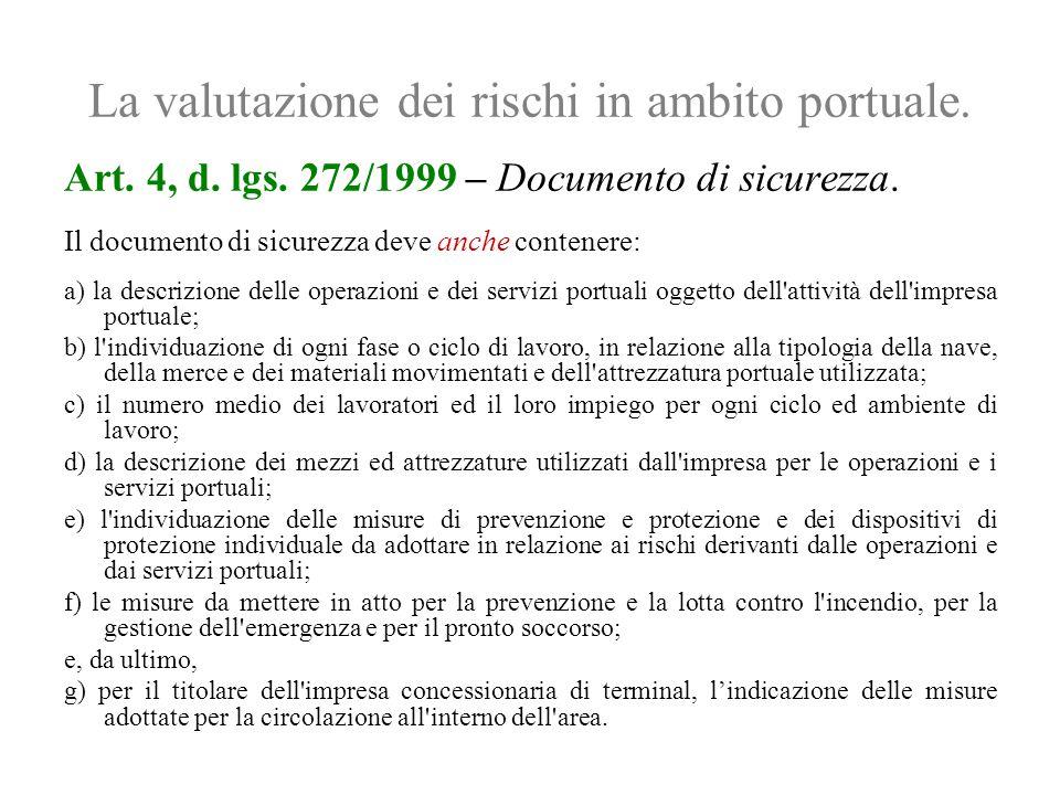 La valutazione dei rischi in ambito portuale. Art. 4, d. lgs. 272/1999 – Documento di sicurezza. Il documento di sicurezza deve anche contenere: a) la