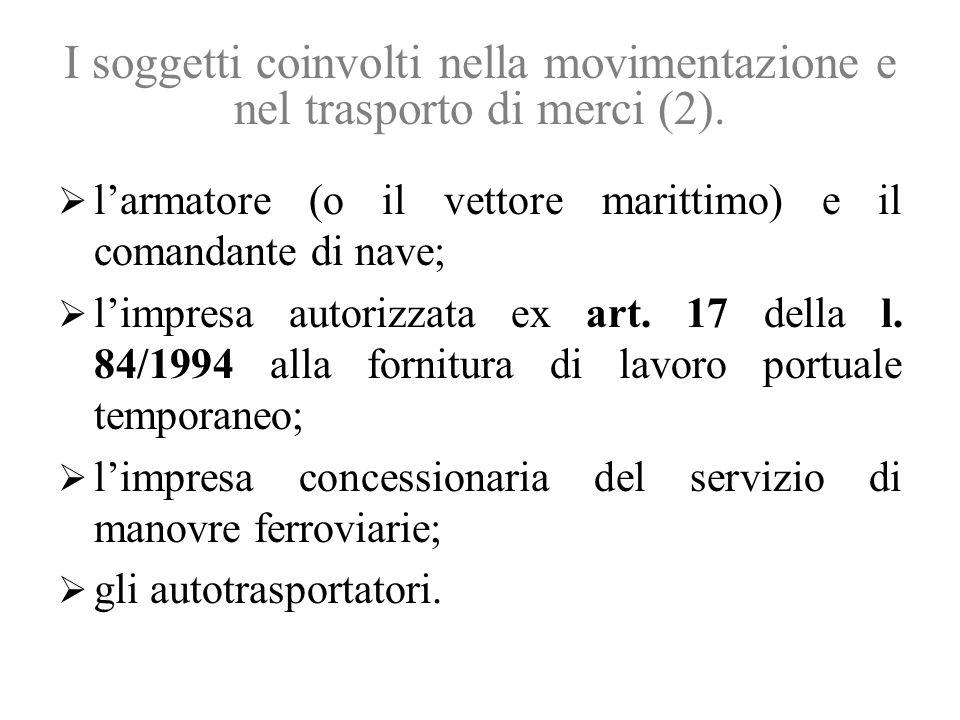 I soggetti coinvolti nella movimentazione e nel trasporto di merci (2).  l'armatore (o il vettore marittimo) e il comandante di nave;  l'impresa aut