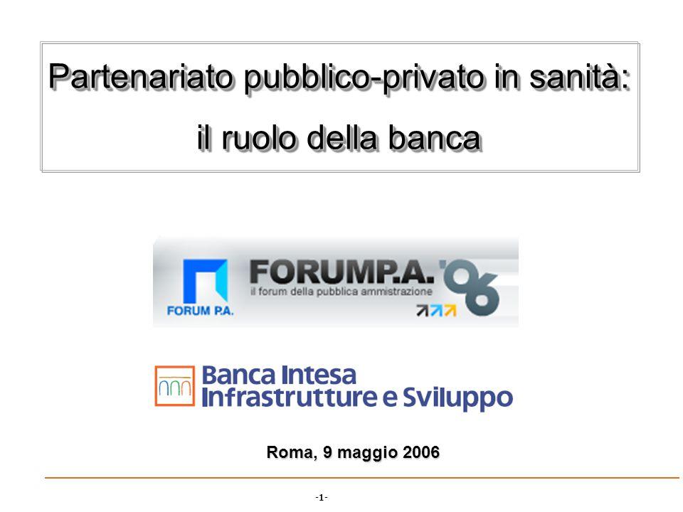 -1- Partenariato pubblico-privato in sanità: il ruolo della banca Partenariato pubblico-privato in sanità: il ruolo della banca Roma, 9 maggio 2006