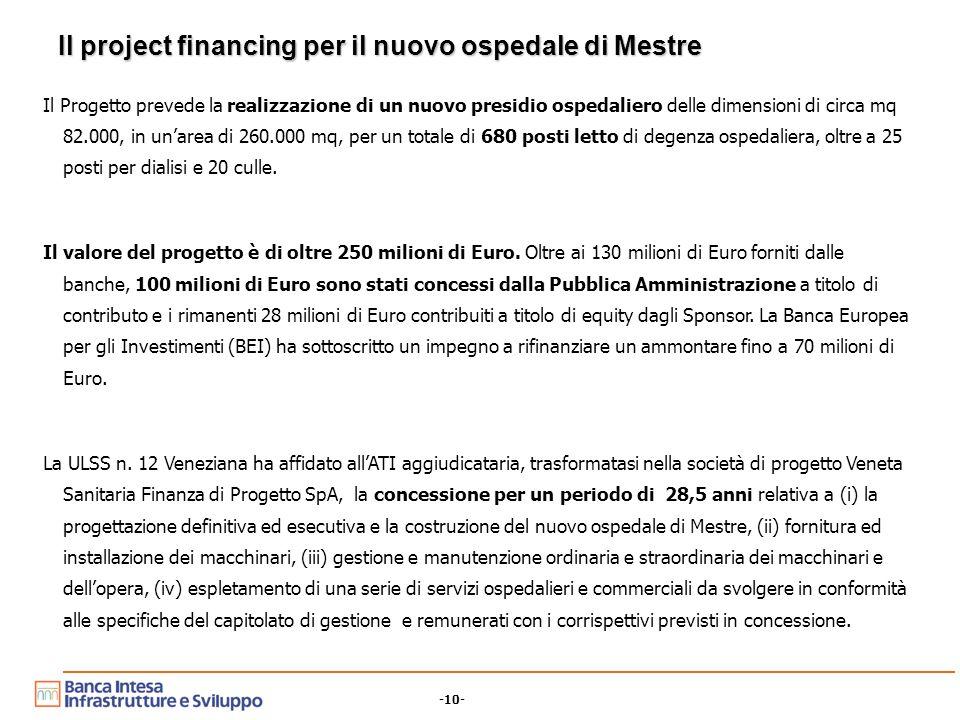 -10- Il project financing per il nuovo ospedale di Mestre Il Progetto prevede la realizzazione di un nuovo presidio ospedaliero delle dimensioni di circa mq 82.000, in un'area di 260.000 mq, per un totale di 680 posti letto di degenza ospedaliera, oltre a 25 posti per dialisi e 20 culle.