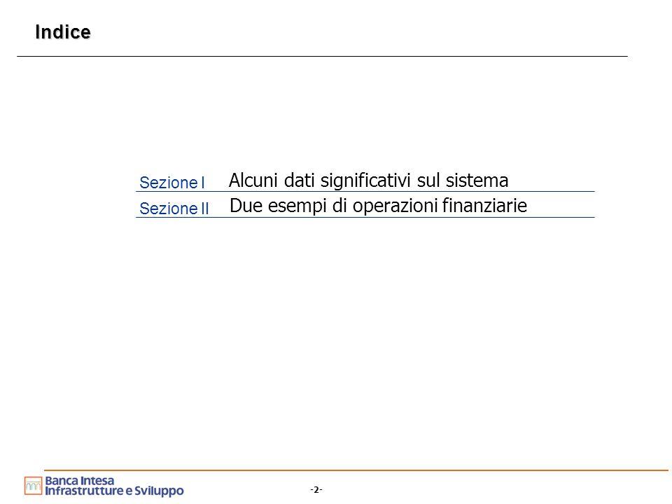 -2- Indice Sezione I Alcuni dati significativi sul sistema Sezione II Due esempi di operazioni finanziarie