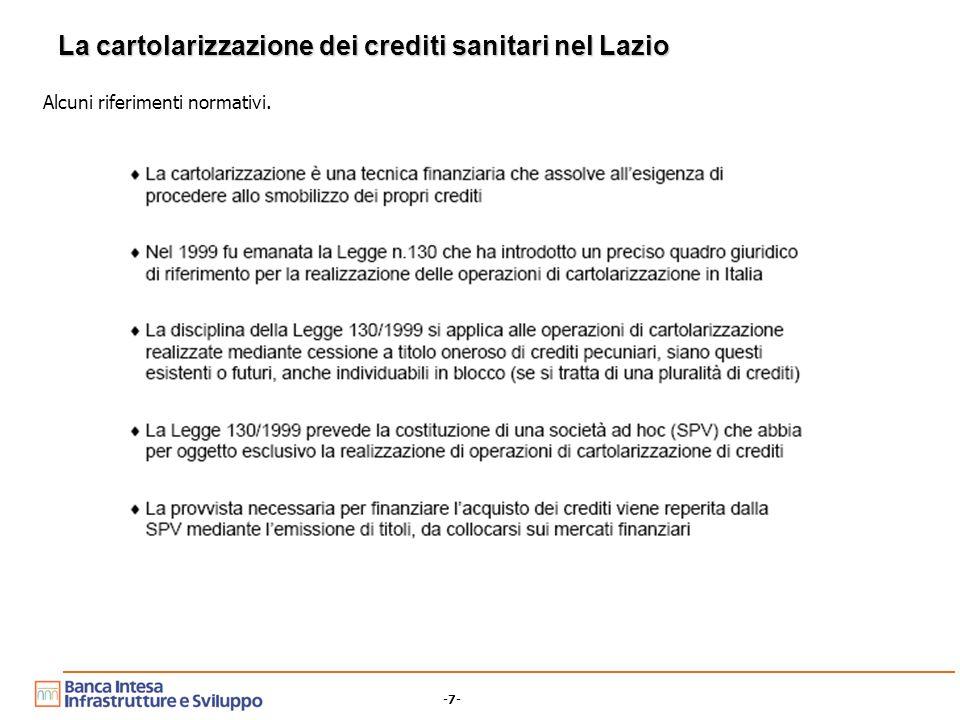 -7- La cartolarizzazione dei crediti sanitari nel Lazio Alcuni riferimenti normativi.