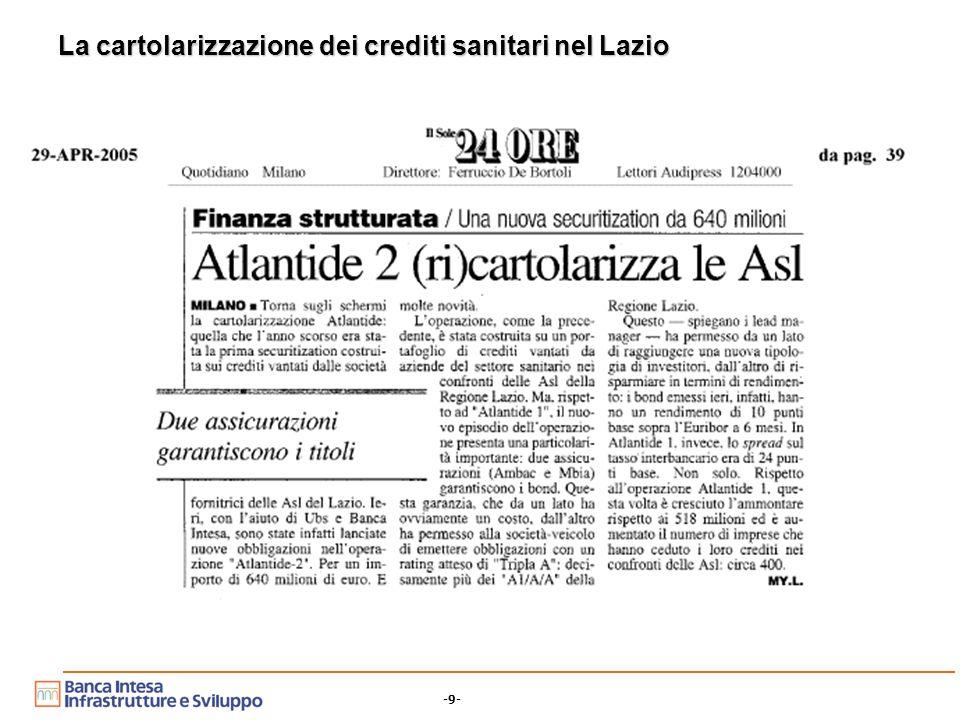 -9- La cartolarizzazione dei crediti sanitari nel Lazio
