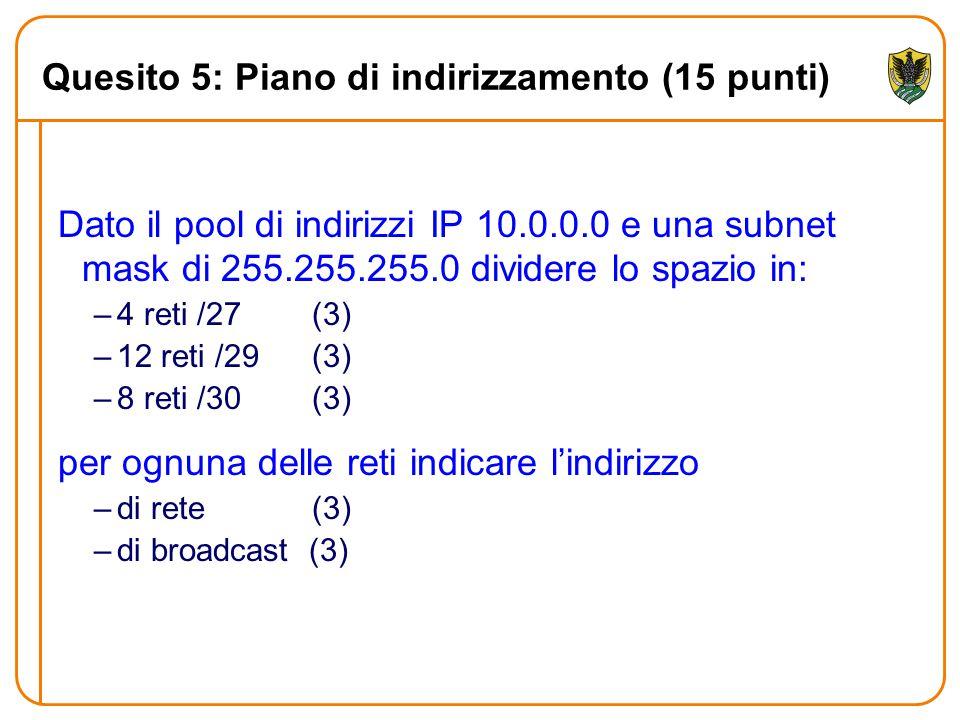 Quesito 5: Piano di indirizzamento (15 punti) Dato il pool di indirizzi IP 10.0.0.0 e una subnet mask di 255.255.255.0 dividere lo spazio in: –4 reti