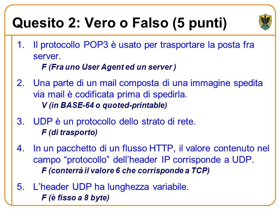 Quesito 2: Vero o Falso (5 punti) 1.Il protocollo POP3 è usato per trasportare la posta fra server. F (Fra uno User Agent ed un server ) 2.Una parte d