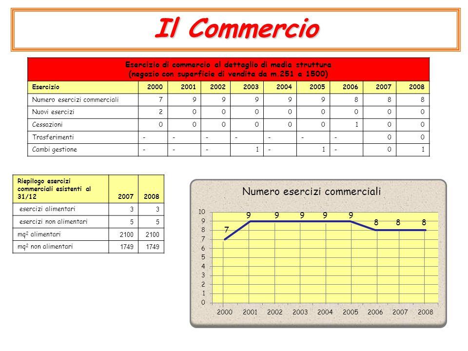 Il Commercio Esercizio di commercio al dettaglio di media struttura (negozio con superficie di vendita da m.251 a 1500) Esercizio200020012002200320042005200620072008 Numero esercizi commerciali799999888 Nuovi esercizi2000000 00 Cessazioni000000100 Trasferimenti-------00 Cambi gestione---1-1-01 Riepilogo esercizi commerciali esistenti al 31/1220072008 esercizi alimentari 33 esercizi non alimentari 55 mq 2 alimentari 2100 mq 2 non alimentari 1749 7 9999 888 9