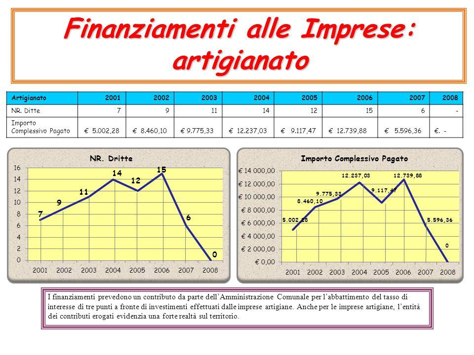 Finanziamenti alle Imprese: artigianato Artigianato20012002200320042005200620072008 NR. Ditte79111412156- Importo Complessivo Pagato € 5.002,28 € 8.46