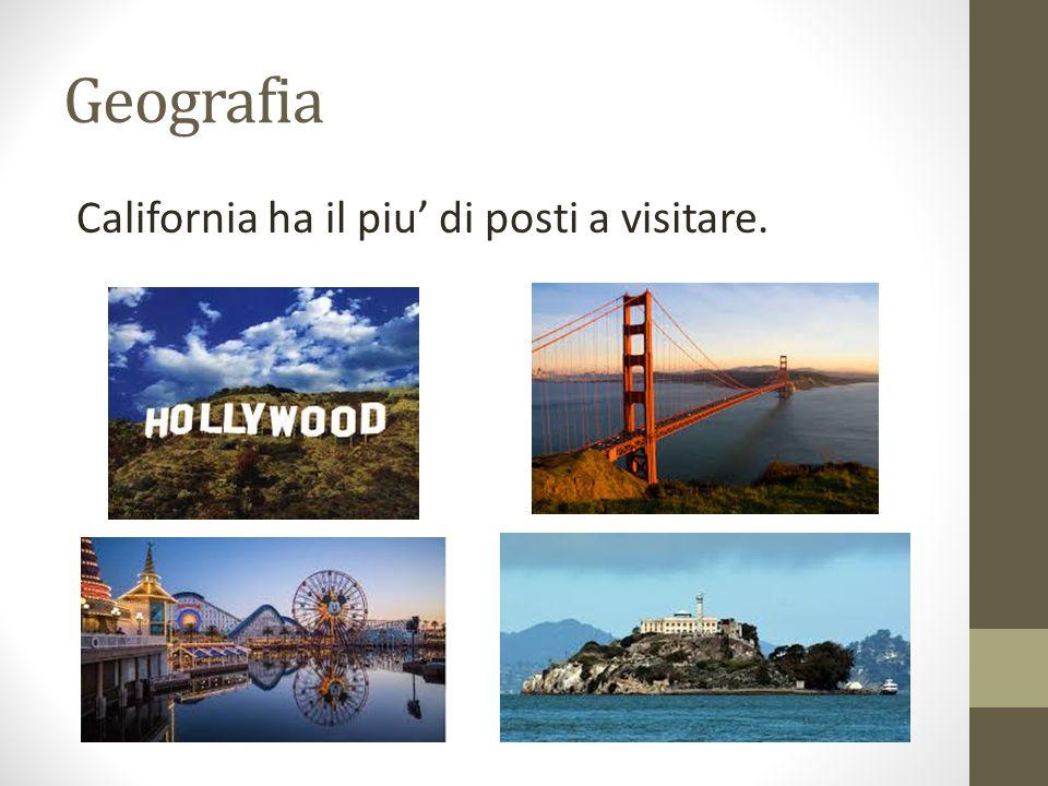 Geografia California ha il piu' di posti a visitare.