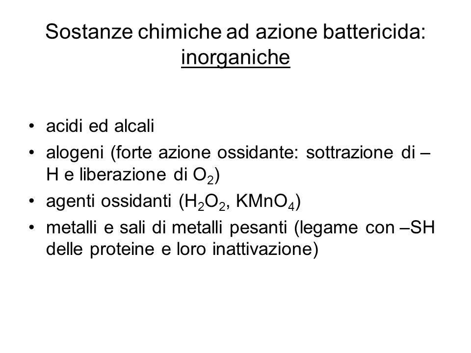 Sostanze chimiche ad azione battericida: inorganiche acidi ed alcali alogeni (forte azione ossidante: sottrazione di – H e liberazione di O 2 ) agenti