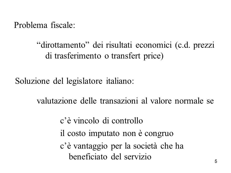 5 Problema fiscale: dirottamento dei risultati economici (c.d.