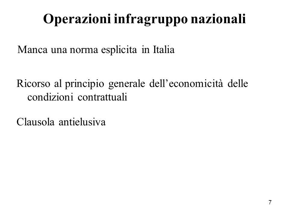 7 Manca una norma esplicita in Italia Operazioni infragruppo nazionali Ricorso al principio generale dell'economicità delle condizioni contrattuali Clausola antielusiva