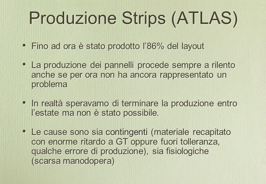Produzione Strips (ATLAS) Fino ad ora è stato prodotto l'86% del layout La produzione dei pannelli procede sempre a rilento anche se per ora non ha ancora rappresentato un problema In realtà speravamo di terminare la produzione entro l'estate ma non è stato possibile.