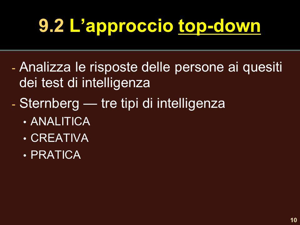 10 9.2 L'approccio top-down - Analizza le risposte delle persone ai quesiti dei test di intelligenza - Sternberg — tre tipi di intelligenza ANALITICA