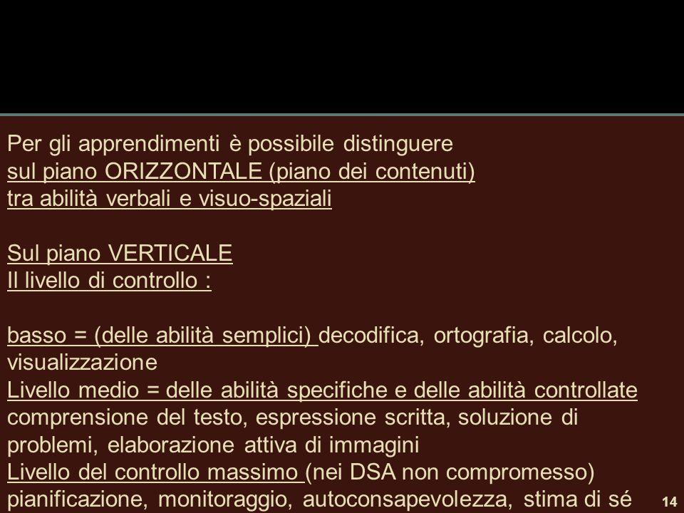 14 Per gli apprendimenti è possibile distinguere sul piano ORIZZONTALE (piano dei contenuti) tra abilità verbali e visuo-spaziali Sul piano VERTICALE