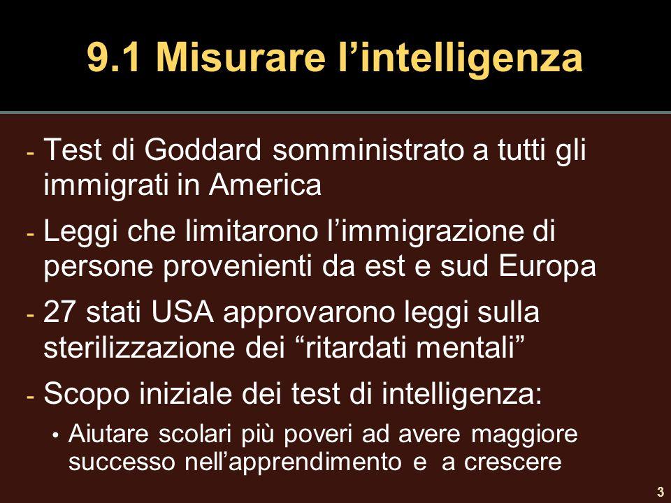 3 9.1 Misurare l'intelligenza - Test di Goddard somministrato a tutti gli immigrati in America - Leggi che limitarono l'immigrazione di persone proven