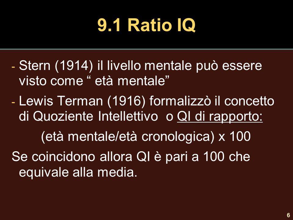 """6 9.1 Ratio IQ - Stern (1914) il livello mentale può essere visto come """" età mentale"""" - Lewis Terman (1916) formalizzò il concetto di Quoziente Intell"""