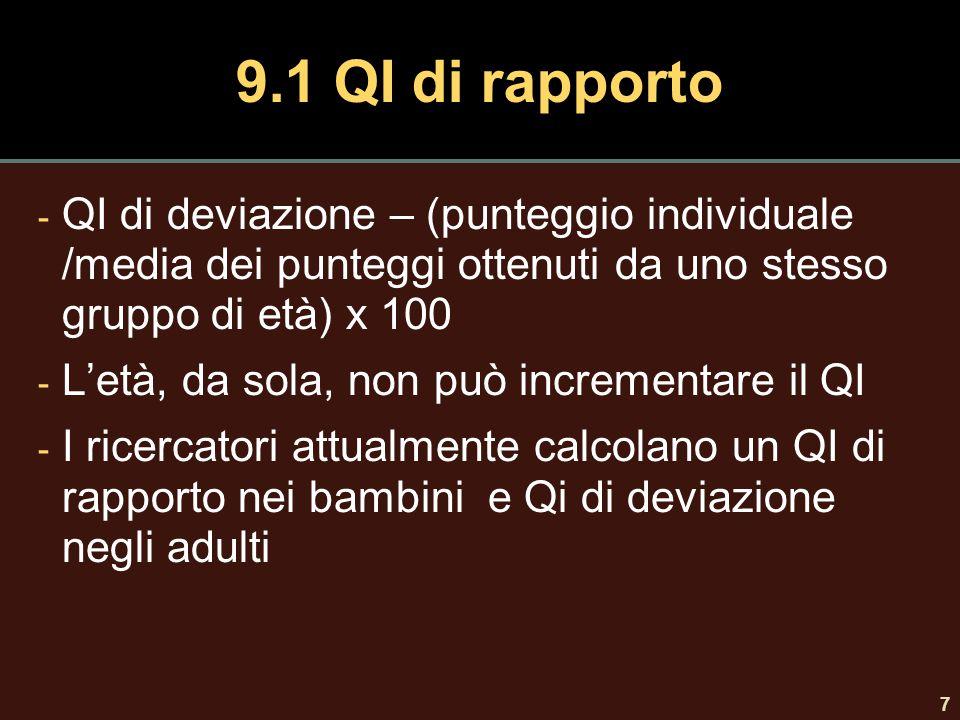 8 9.1 comportamenti consequenziali - Il QI predice il rendimento scolastico (r =.5) - Il Qi è correlato alla carriera lavorativa (r =.53) - Il QI è correlato alla prestazione (r =.4) Stipendi settimanali