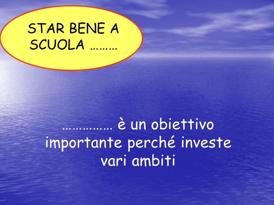 …………… è un obiettivo importante perché investe vari ambiti STAR BENE A SCUOLA ………