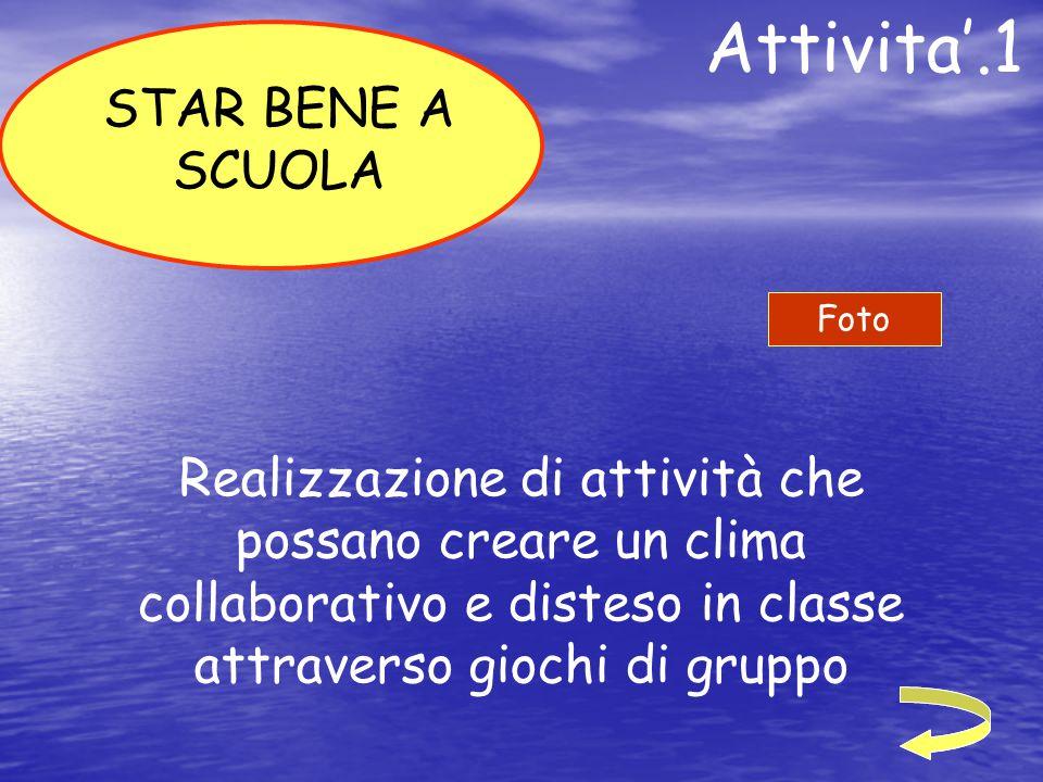 Attivita'.1 Realizzazione di attività che possano creare un clima collaborativo e disteso in classe attraverso giochi di gruppo STAR BENE A SCUOLA Fot