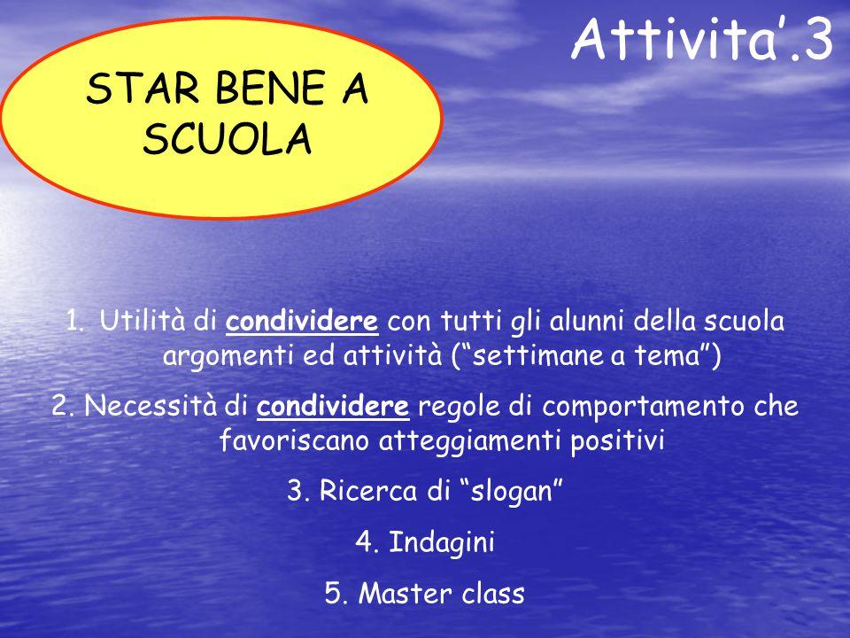 """Attivita'.3 1.Utilità di condividere con tutti gli alunni della scuola argomenti ed attività (""""settimane a tema"""") 2.Necessità di condividere regole di"""