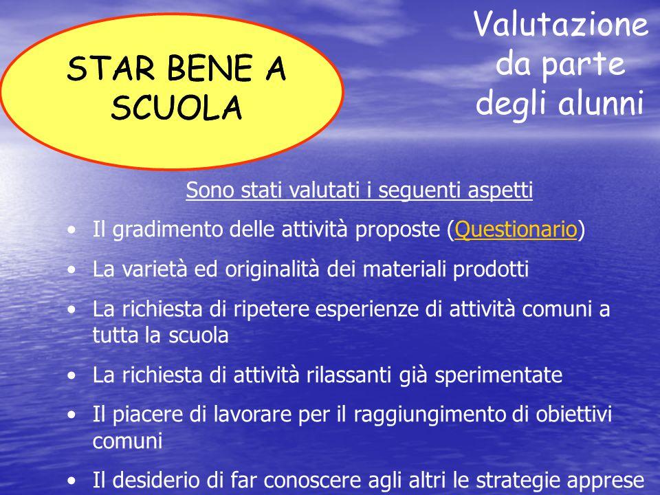 Valutazione da parte degli alunni STAR BENE A SCUOLA Sono stati valutati i seguenti aspetti Il gradimento delle attività proposte (Questionario)Questi