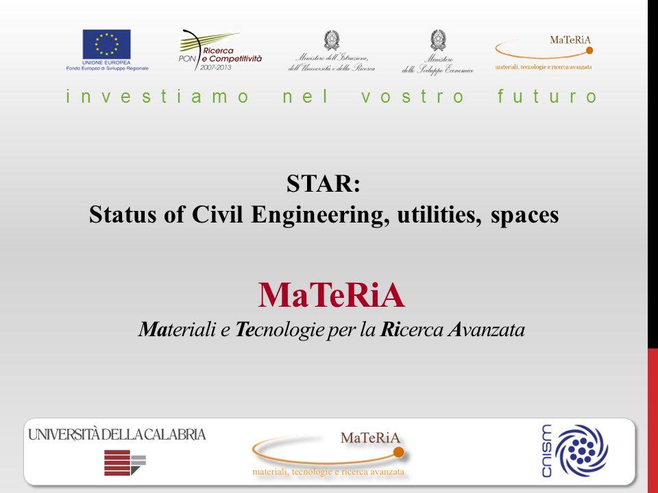 MaTeRiA Materiali e Tecnologie per la Ricerca Avanzata i n v e s t i a m o n e l v o s t r o f u t u r o STAR: Status of Civil Engineering, utilities,