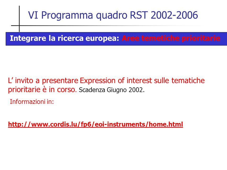 VI Programma quadro RST 2002-2006 L' invito a presentare Expression of interest sulle tematiche prioritarie è in corso. Scadenza Giugno 2002. Informaz