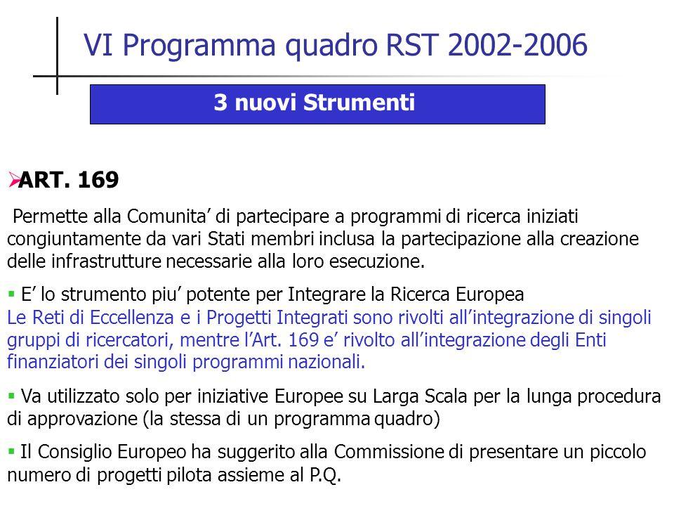 VI Programma quadro RST 2002-2006 3 nuovi Strumenti  ART. 169 Permette alla Comunita' di partecipare a programmi di ricerca iniziati congiuntamente d