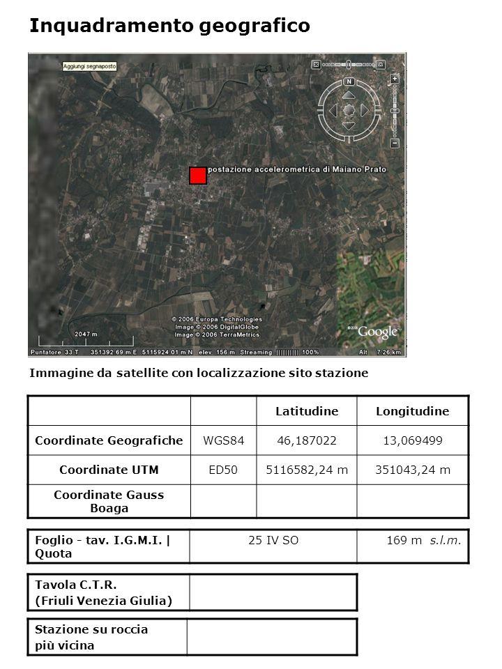 Immagine da satellite con localizzazione sito stazione Foglio - tav. I.G.M.I. | Quota 25 IV SO169 m s.l.m. Inquadramento geografico LatitudineLongitud