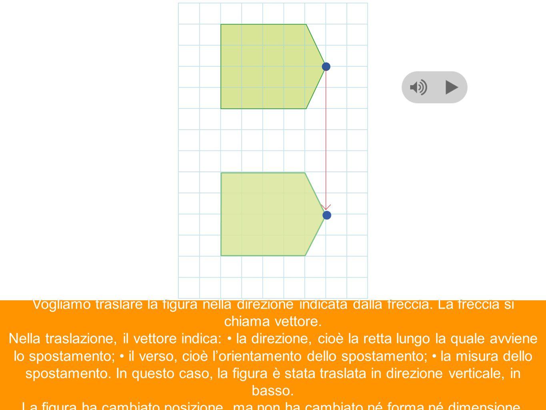 Vogliamo traslare la figura nella direzione indicata dalla freccia. La freccia si chiama vettore. Nella traslazione, il vettore indica: la direzione,