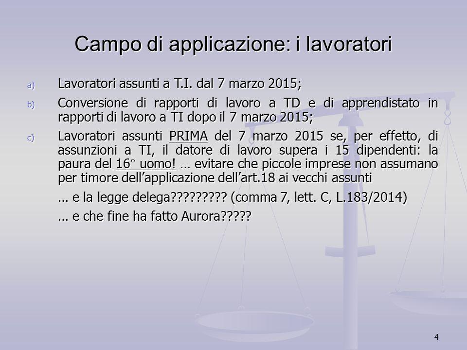 4 Campo di applicazione: i lavoratori a) Lavoratori assunti a T.I. dal 7 marzo 2015; b) Conversione di rapporti di lavoro a TD e di apprendistato in r