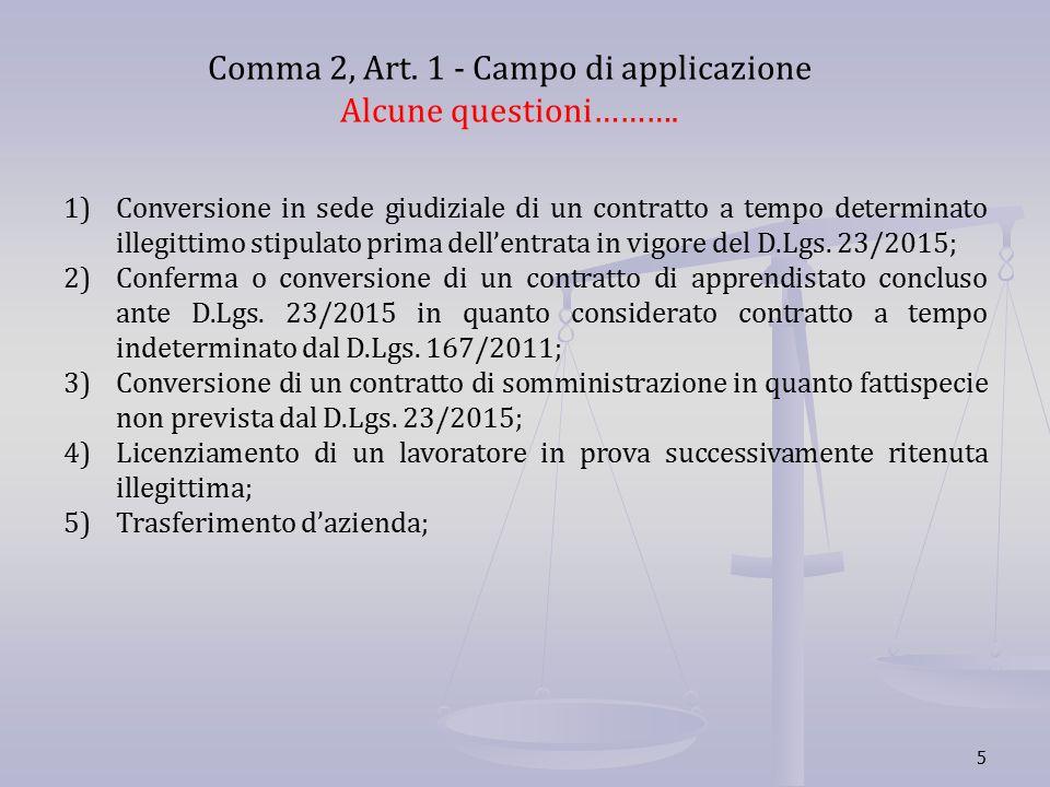 5 Comma 2, Art. 1 - Campo di applicazione Alcune questioni………. 1)Conversione in sede giudiziale di un contratto a tempo determinato illegittimo stipul
