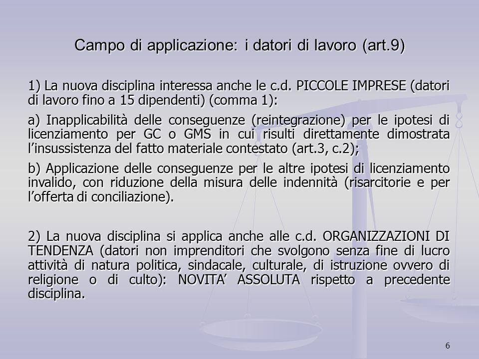 6 Campo di applicazione: i datori di lavoro (art.9) 1) La nuova disciplina interessa anche le c.d. PICCOLE IMPRESE (datori di lavoro fino a 15 dipende