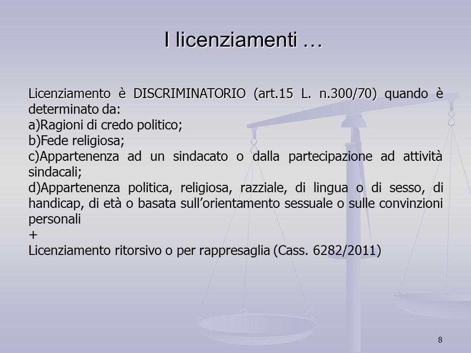 8 I licenziamenti … Licenziamento è DISCRIMINATORIO (art.15 L. n.300/70) Licenziamento è DISCRIMINATORIO (art.15 L. n.300/70) quando è determinato da: