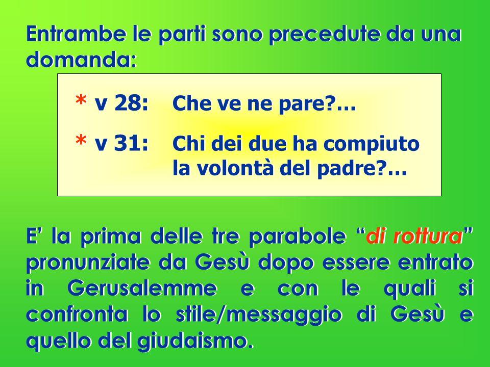 Entrambe le parti sono precedute da una domanda: * v 28: Che ve ne pare?… * v 31: Chi dei due ha compiuto la volontà del padre?… E' la prima delle tre