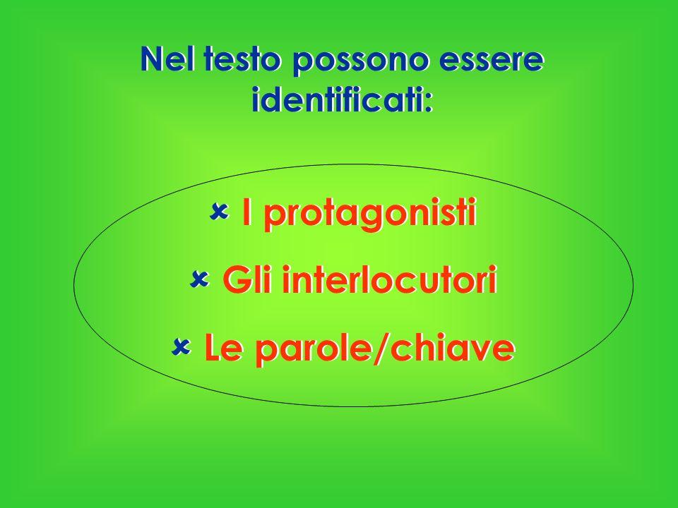 Nel testo possono essere identificati:  I protagonisti  Gli interlocutori  Le parole/chiave Nel testo possono essere identificati:  I protagonisti