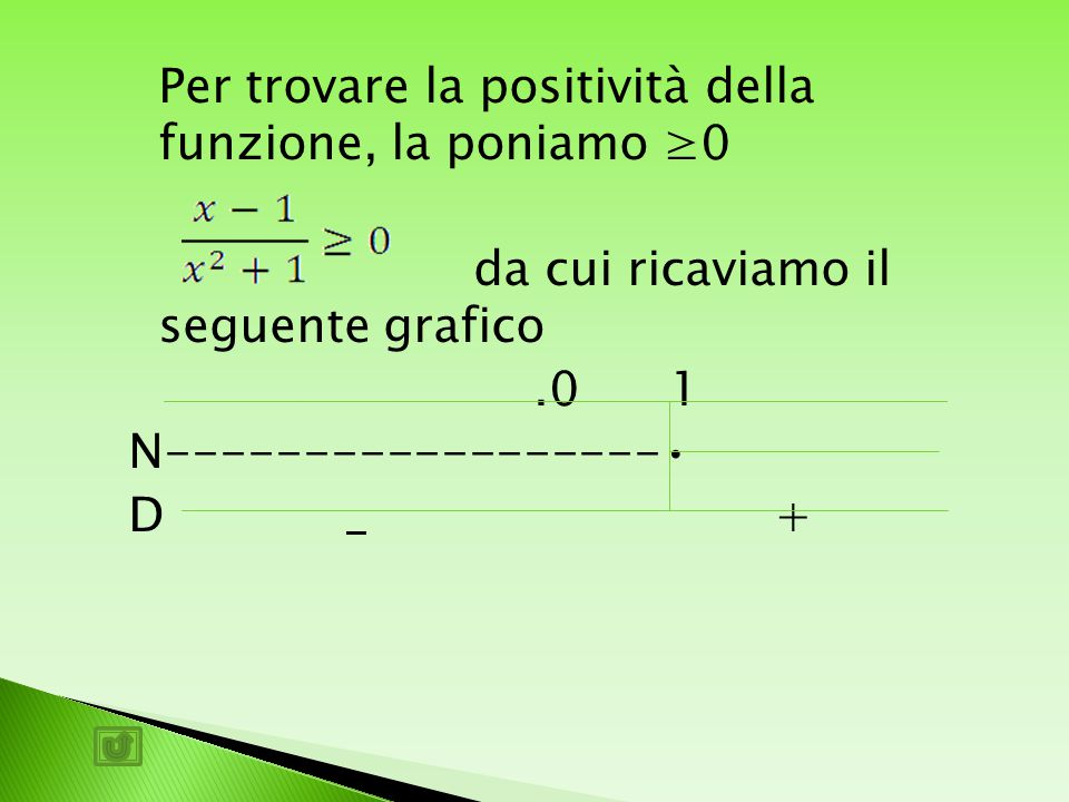 Per trovare la positività della funzione, la poniamo ≥0 da cui ricaviamo il seguente grafico.0 1 N------------------ D _ +