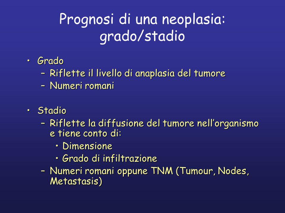 Prognosi di una neoplasia: grado/stadio GradoGrado –Riflette il livello di anaplasia del tumore –Numeri romani StadioStadio –Riflette la diffusione del tumore nell'organismo e tiene conto di: DimensioneDimensione Grado di infiltrazioneGrado di infiltrazione –Numeri romani oppune TNM (Tumour, Nodes, Metastasis)