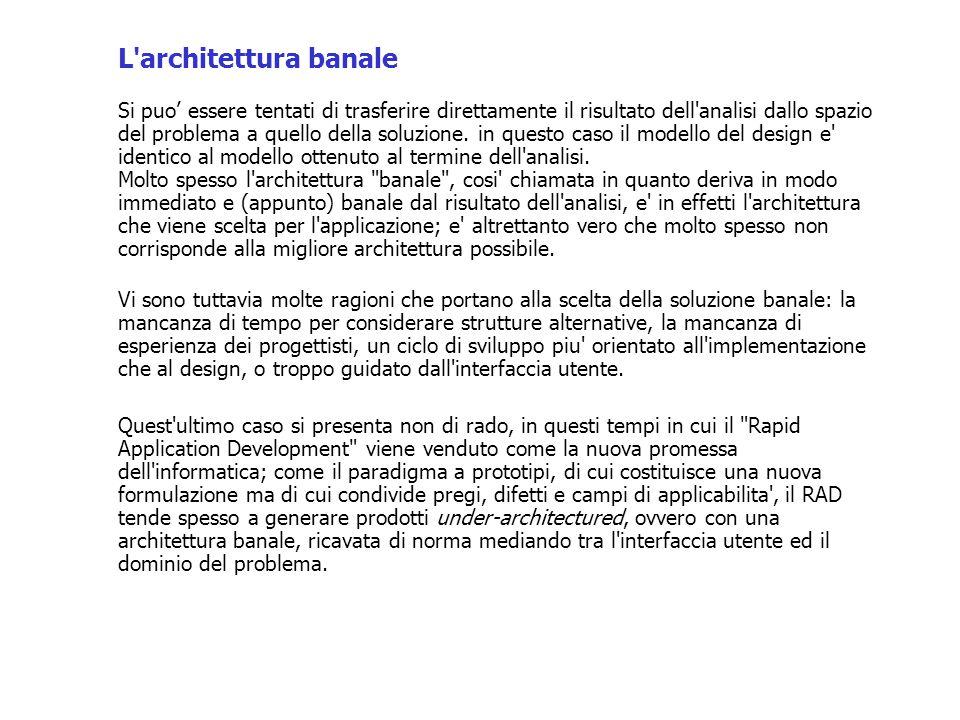 L architettura banale Si puo' essere tentati di trasferire direttamente il risultato dell analisi dallo spazio del problema a quello della soluzione.