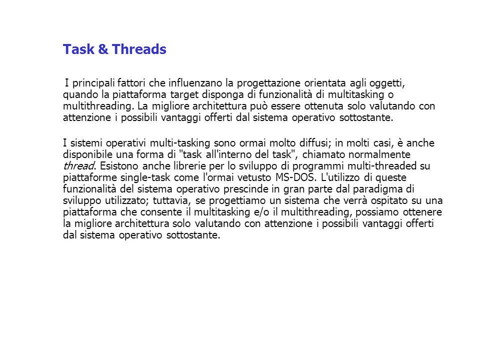 Task & Threads I principali fattori che influenzano la progettazione orientata agli oggetti, quando la piattaforma target disponga di funzionalità di multitasking o multithreading.