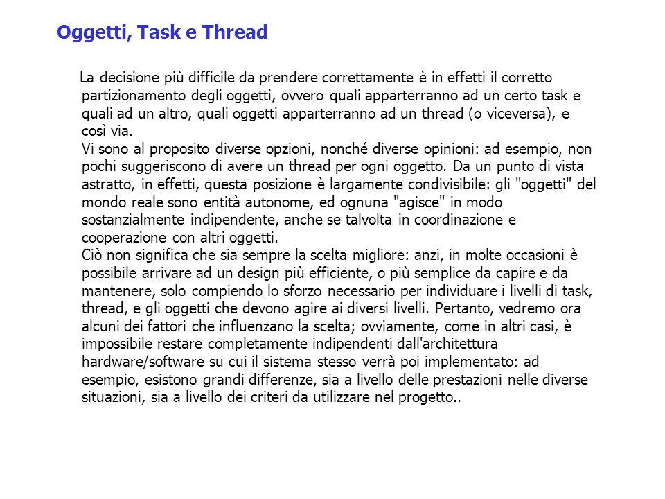 Oggetti, Task e Thread La decisione più difficile da prendere correttamente è in effetti il corretto partizionamento degli oggetti, ovvero quali apparterranno ad un certo task e quali ad un altro, quali oggetti apparterranno ad un thread (o viceversa), e così via.