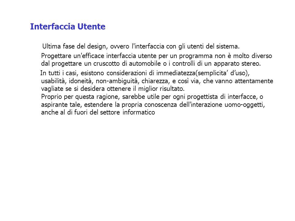 Interfaccia Utente Ultima fase del design, ovvero l interfaccia con gli utenti del sistema.