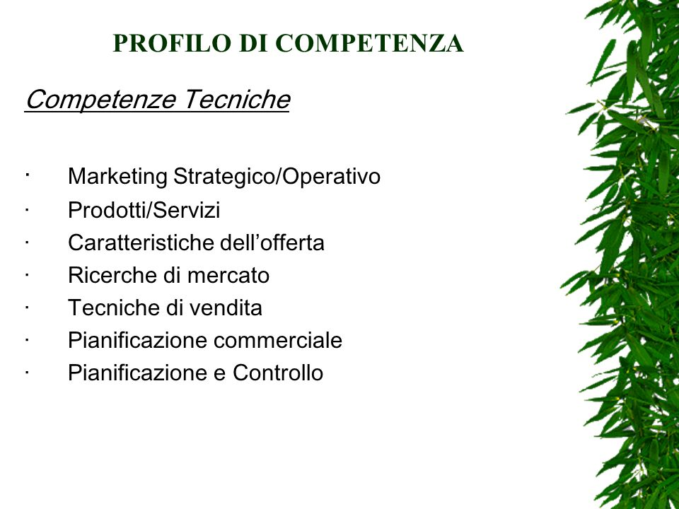 PROFILO DI COMPETENZA Competenze Tecniche · Marketing Strategico/Operativo · Prodotti/Servizi · Caratteristiche dell'offerta · Ricerche di mercato · Tecniche di vendita · Pianificazione commerciale · Pianificazione e Controllo