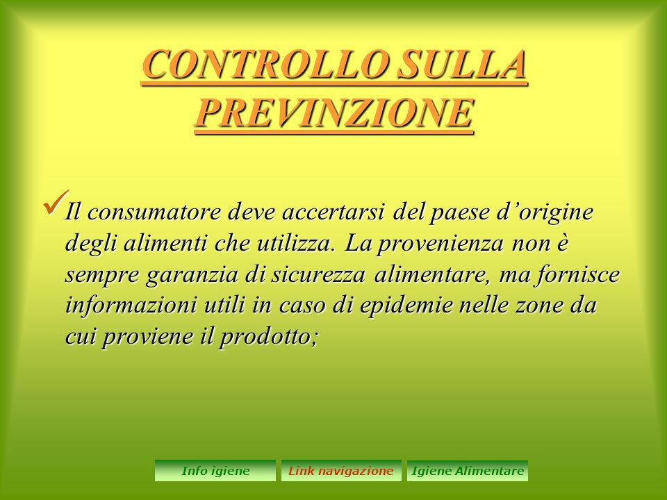 CONTROLLO SULLA PREVINZIONE Il consumatore deve accertarsi del paese d'origine degli alimenti che utilizza.