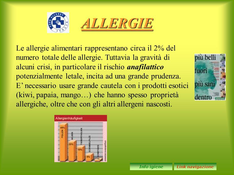 ALLERGIE Le allergie alimentari rappresentano circa il 2% del numero totale delle allergie. Tuttavia la gravità di alcuni crisi, in particolare il ris
