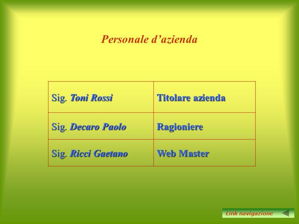 Personale d'azienda Sig. Toni Rossi Titolare azienda Sig. Decaro Paolo Ragioniere Sig. Ricci Gaetano Web Master Link navigazione