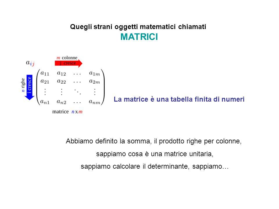 Quegli strani oggetti matematici chiamati MATRICI La matrice è una tabella finita di numeri abbiamo definito la somma, il prodotto righe per colonne, sappiamo cosa è una matrice unitaria, sappiamo calcolare il determinante, sappiamo… ?